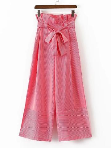 Shein Bow Tie Waist Pinstripe Wide Leg Pants