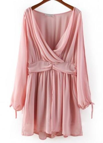 Rosewe Enchanting Pink Long Sleeve V Neck Woman Rompers