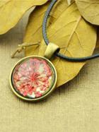 Shein Red Vintage Flower Pattern Round Pendant Necklace For Women