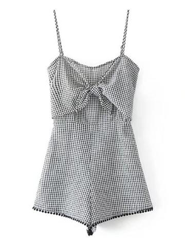 Shein Cami Straps Bow Tie Front Playsuit