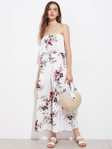 Shein Allover Florals Bandeau Top With Split Skirt