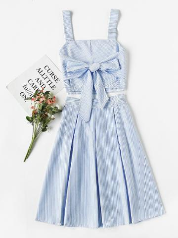 Shein Striped Bow Tie Crop Cami Top With Box Pleated Skirt
