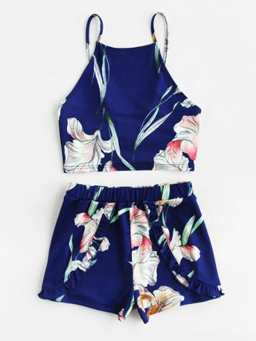 Shein Tie Back Cami And Frilled Wrap Shorts Set