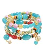 Shein Multilayers Elastic Blue Beads Bracelet