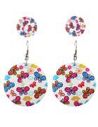 Shein White Flower Stud Drop Earrings Set