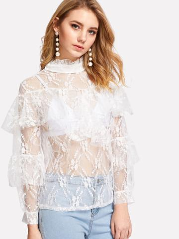 Shein Ruffle Sleeve Mock Neck Lace Top
