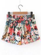 Shein Elastic Waist Floral Shorts