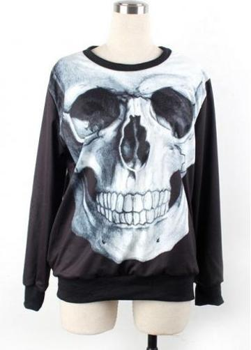 Rosewe High Street Fashion Skull Head Print Black Sweats