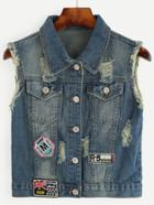 Shein Blue Distressed Embroidered Patch Detail Denim Vest