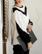 Shein Women White Color Block Sweatshirt