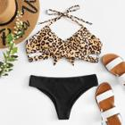 Shein Cross Wrap Leopard Bikini Set