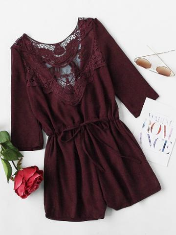 Shein Heather Burgundy Crochet Lace Insert Back Tie Romper