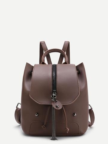 Shein Chain Tassel Detail Pu Backpack