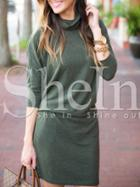 Shein Green High Neck Tshirt Dress