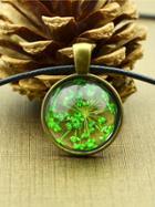 Shein Green Vintage Flower Pattern Round Pendant Necklace For Women
