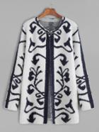 Shein Baroque Pattern Fuzzy Cardigan