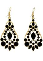 Shein Black Gemstone Gold Hollow Drop Dangle Earrings