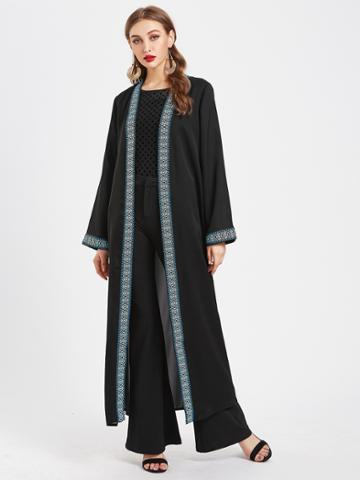Shein Contrast Embroidered Tape Trim Longline Abaya With Belt