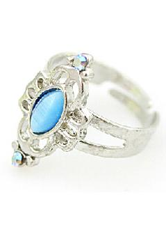 Shein Light Blue Gemstone Silver Hollow Ring