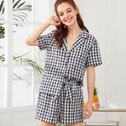 Shein Gingham Print Shirt & Shorts Pj Set