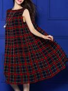 Shein Burgundy Crew Neck Plaid A-line Dress