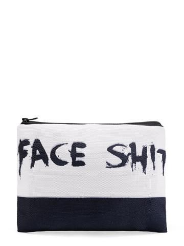 Shein Two Tone Slogan Print Cosmetic Bag