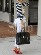 Shein Black White Long Sleeve Striped Ruffle T-shirt