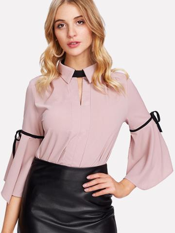 Shein Bell Sleeve Bow Tie Detail Shirt