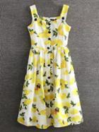 Shein Yellow Lemon Printed Button Skater Dress