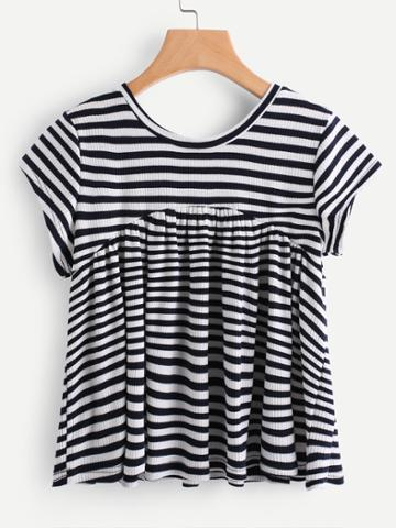 Shein Contrast Striped Ribbed T-shirt