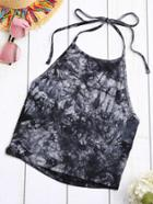 Shein Tie Dye Lace-up Halter Top