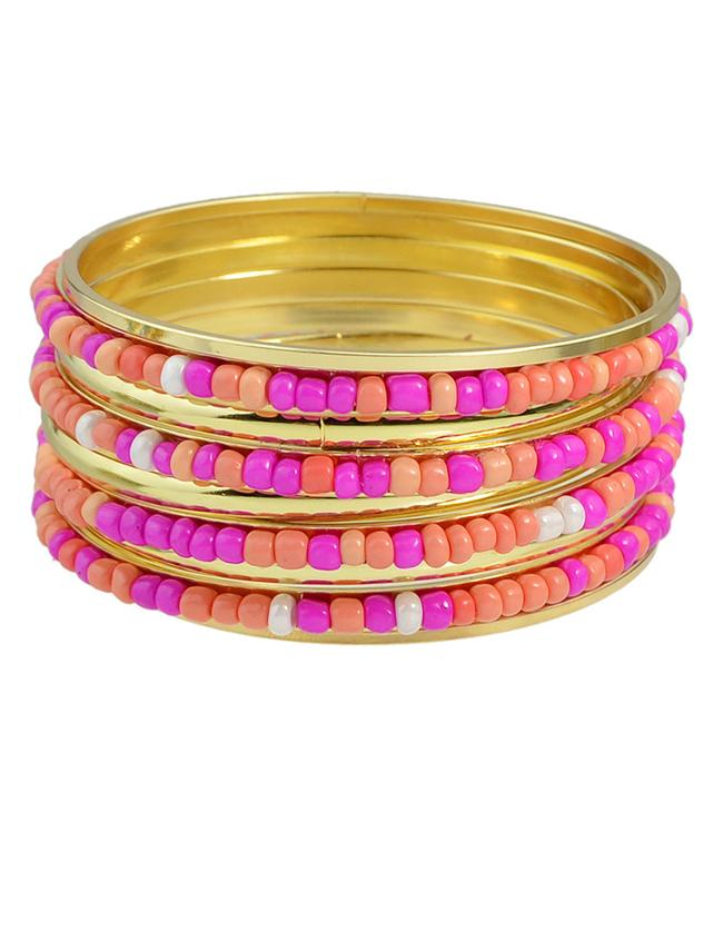 Shein Hotpink Beads Bracelets And Bangles