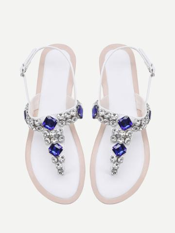 Shein Gemstone Decorated T Strap Sandals
