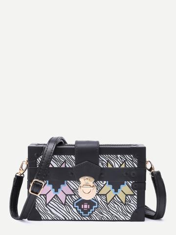 Shein Geometric Print Messenger Bag