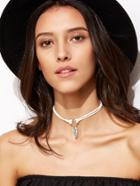 Shein White Leaf Pendant Cord Choker Necklace