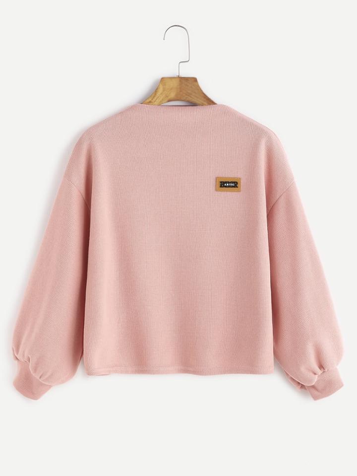 Shein Pink Funnel Neck Drop Shoulder Lantern Sleeve Patch Sweatshirt
