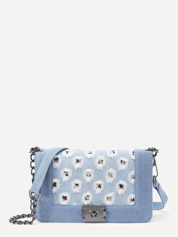 Shein Distressed Flap Denim Crossbody Bag