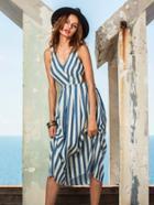 Shein Blue Striped Sleeveless Hollow Back Midi Dress