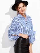 Shein Blue Vertical Striped Pocket Blouse