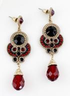 Shein Red Black Gemstone Gold Vintage Earrings