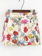 Shein Zipper Side Floral Print Shorts
