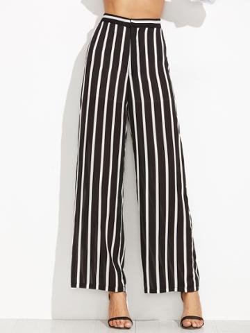 Shein Black Vertical Striped Wide Leg Pants