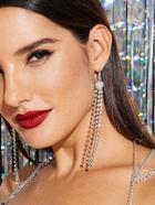 Shein Rhinestone Tassel Drop  Earrings
