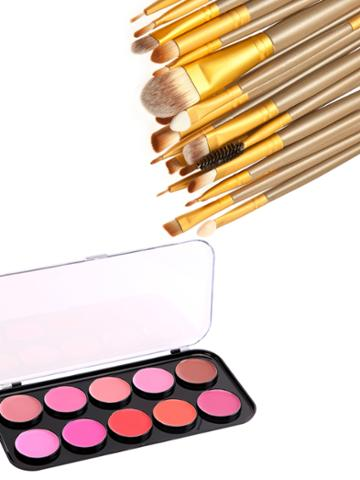 Shein Lip Gloss Palette And Makeup Brush Set
