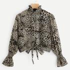 Shein Leopard Frill Neck Knot Hem Blouse