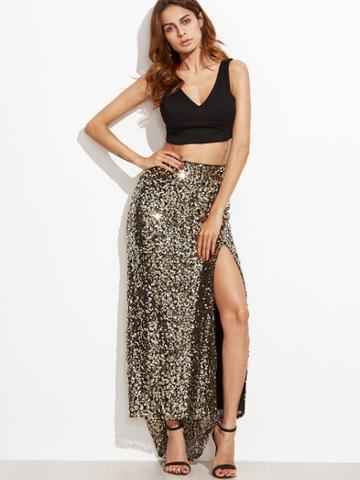 Shein Golden Sequins Embedded Split Asymmetrical Skirt