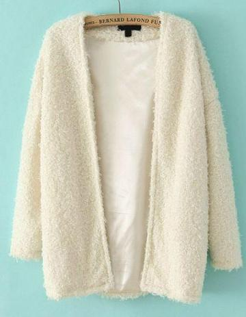 Shein White Long Sleeve Loose Faux Fur Coat