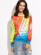 Shein Multicolor Geometric Print Drop Shoulder Sweatshirt