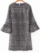 Shein Black Houndstooth Print Bell Sleeve Dress