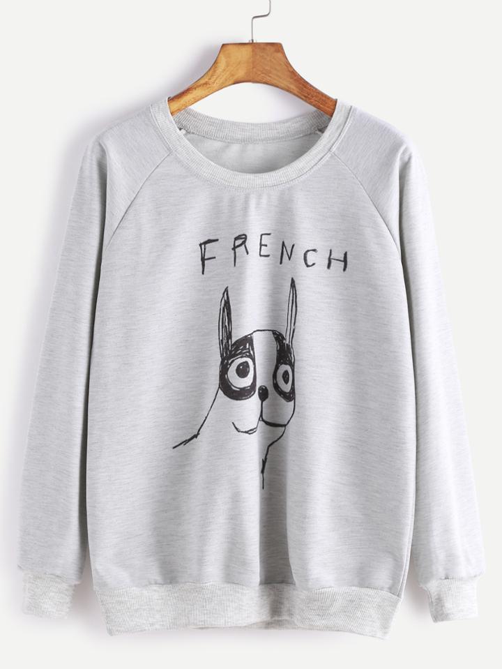 Shein Grey Drawing Print Raglan Sleeve Sweatshirt